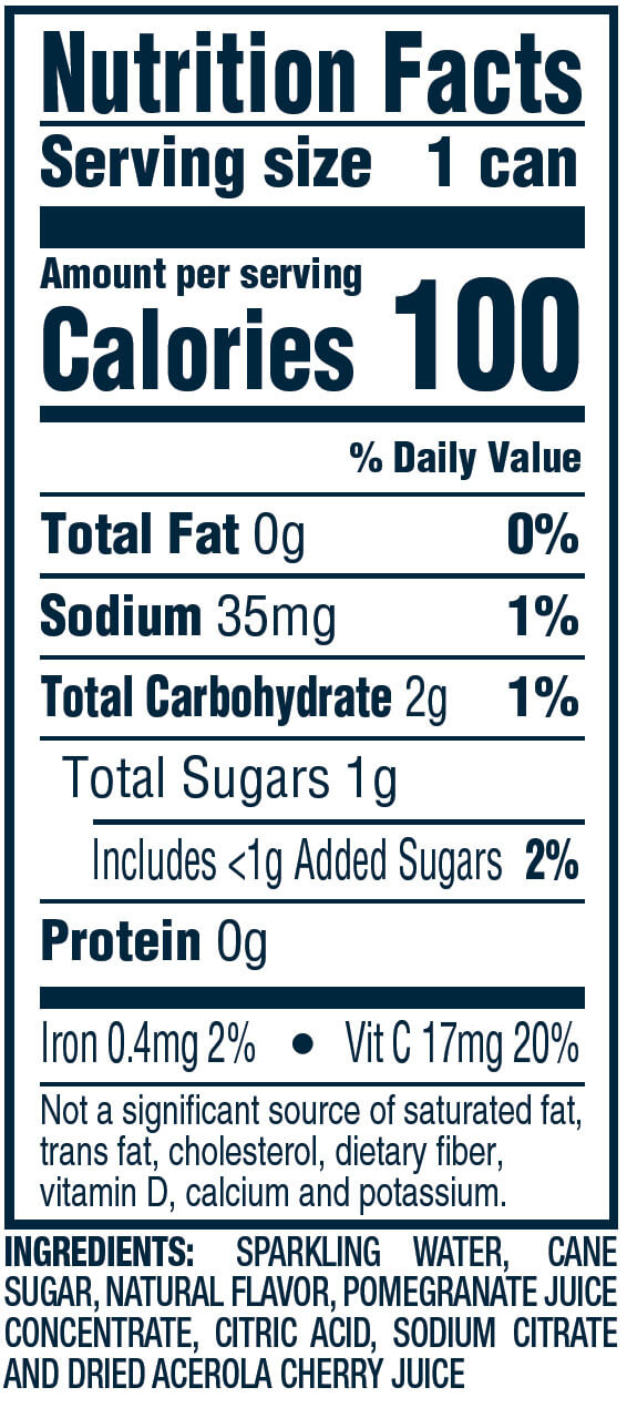 Nutrition Information for Blueberry Pomegranate hard seltzer