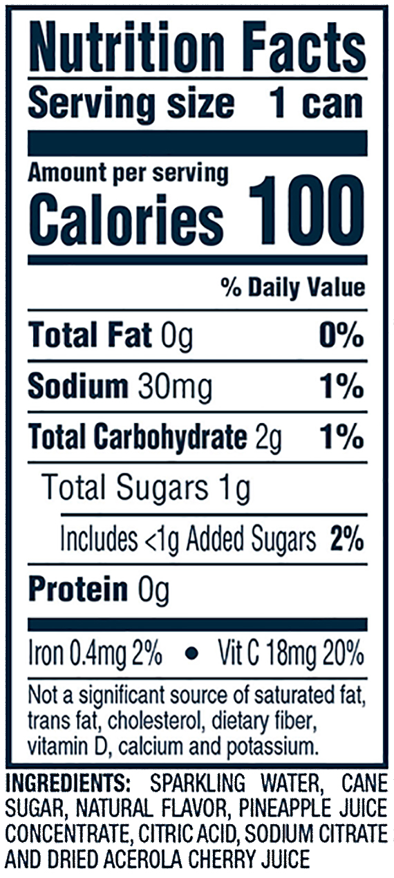 Nutrition Information for pineapple mango hard seltzer 12oz